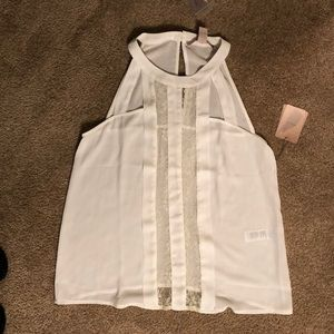 Forever 21 Tops - NWT! White sleeveless top with lace detailed front